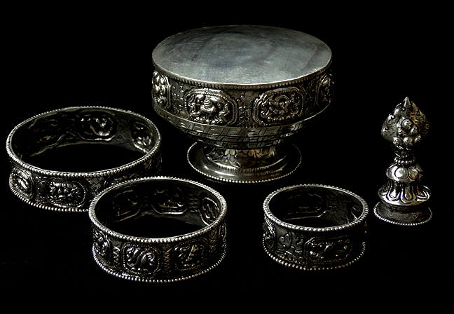 Silver Plated Raised Mandala Set - Very Small Size