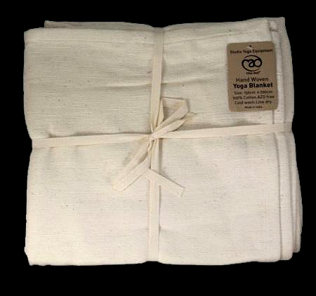 Natural Cotton Yoga or Meditation Blanket - Natural Colour