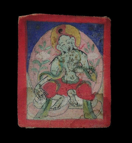 Antique Miniature Painting of Green Tara - 19th C