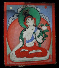 Antique Miniature Painting of White Tara - 19th C