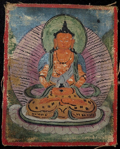 Antique Miniature Painting of Buddha Amitayus