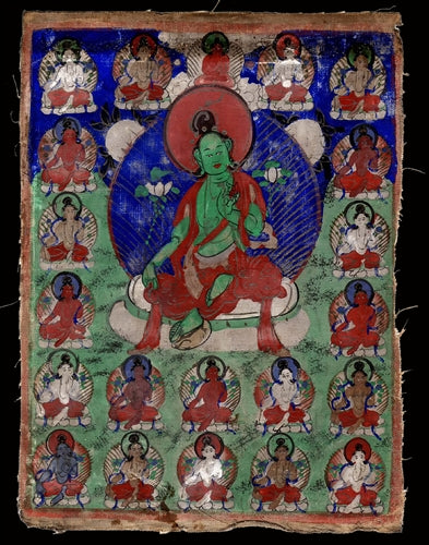 Antique Miniature Painting of Green Tara with 21 Emanations