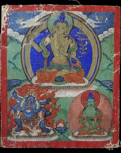 Antique Miniature Painting of Manjushri, Mahakala & Vajravidarana