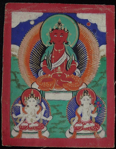 Antique Miniature Painting of the Three Longevity Deities