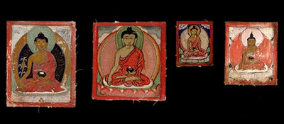 Four Antique Miniature Paintings or Burhany Zurag Collection