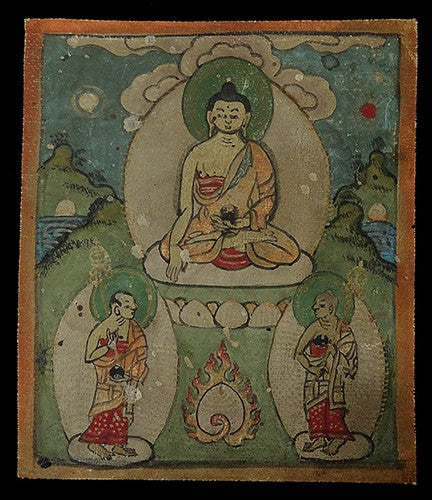 Antique Miniature Painting of Buddha Shakyamuni with disciples