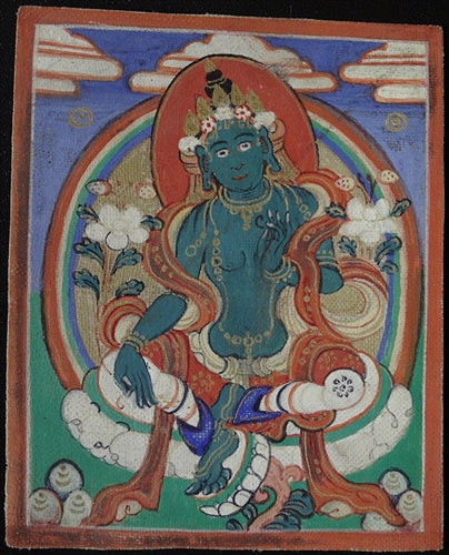 Antique Miniature Painting of Green Tara