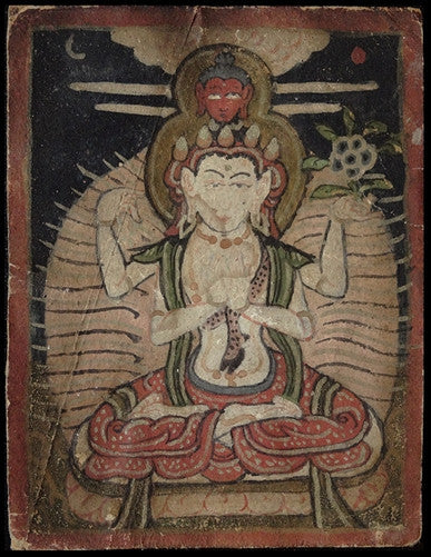 Antique Miniature Painting of Chenrezig