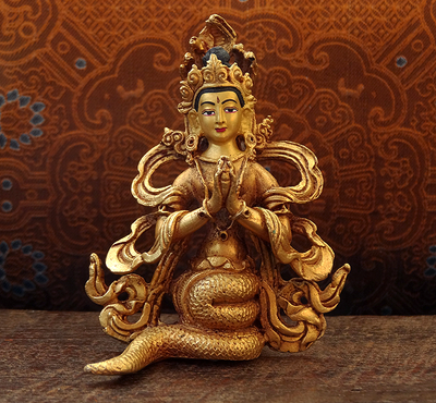 Fully Gilded Copper Naga Statue - Hand Crafted in Nepal
