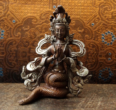 Copper & Silver Naga Statue - Hand Crafted in Nepal