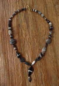 Ancient Banded Agate Suleimani Bead Necklace