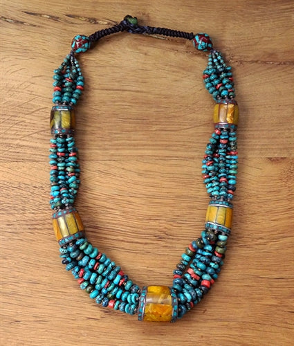 Turquoise, Bamboo Coral & Faux Amber Necklace