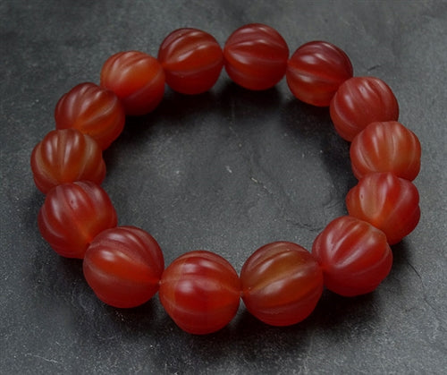 New Melon Shaped Pema Raka Carnelian Beads - 15mm