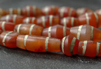 A modern strand of etched carnelian beads - 40 beads
