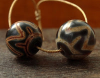 Pair of Decorated Agate Beads - 14mm