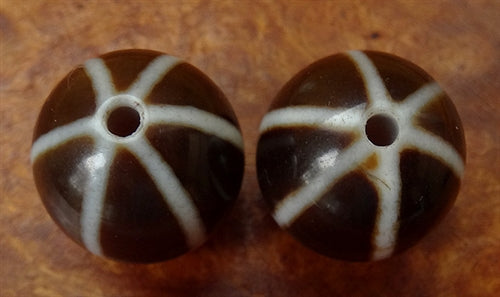 Pair of Fine quality New Six Striped Agate Bead - 18.5mm