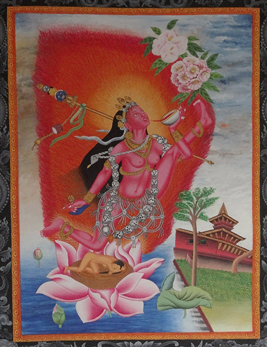 Vajrayogini or Vidyadhari Thangka in the Newari Style - From Old Collection