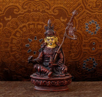 Small Copper Statue of Guru Rinpoche - Hand Painted Face