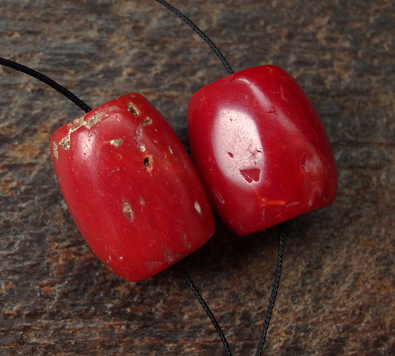 Two Antique Red Coral Beads ~ 16 mm