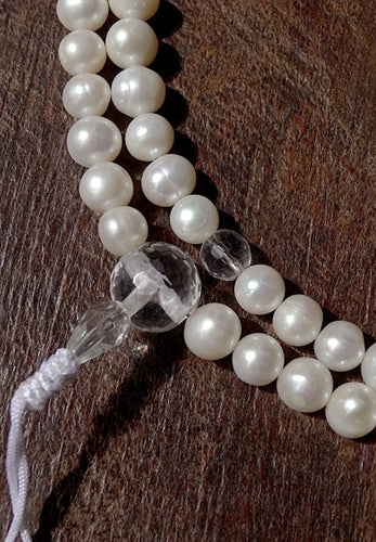 Fine Freshwater Pearl Mala with Crystal Guru Bead - 8mm