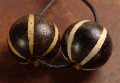 Ancient Matched Pair of Pumtek Six Stripe Stone Bead - 14 mm