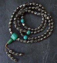 Golden Pyrite Skull Mala with Turquoise Dividers - 8mm