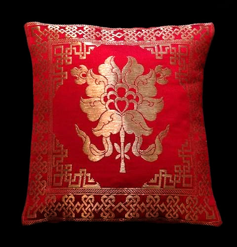 Lotus Cushion Cover - Red Brocade