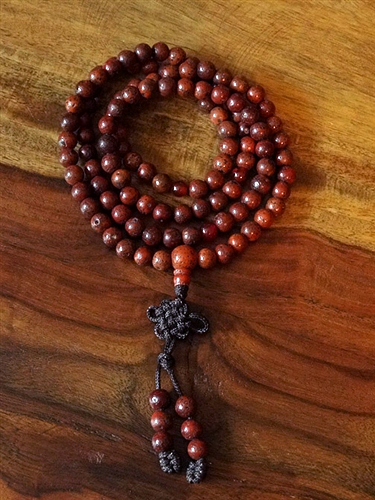 Red Lotus Seed Mala with carnelian dividers - 7mm