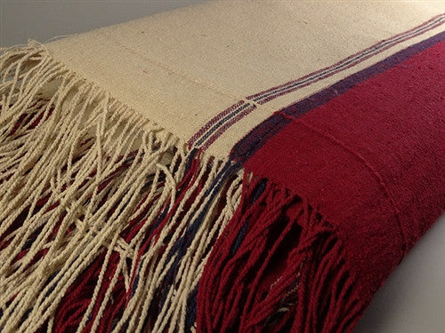 Finest Bhutanese Raw Silk Ngakpa/Ngakmo Zentra - Red & Blue Stripes