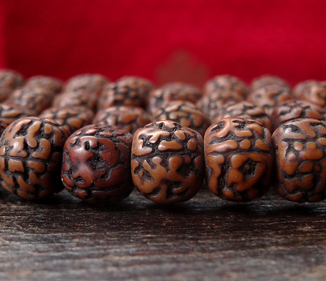 Antique Style Rudraksha Seed Mala  - 10 mm diameter