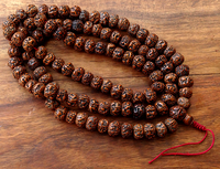 Huge Antique Style Polished Rudraksha Mala - 17 mm