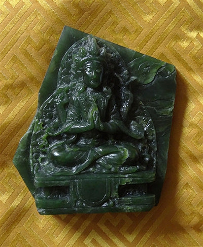 Rare Jade Stone Carving of Four Armed Chenrezig