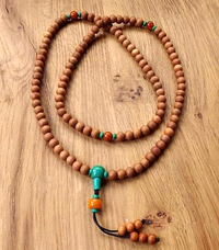 Sandalwood Mala with Turquoise Guru Bead and Dividers - 8mm