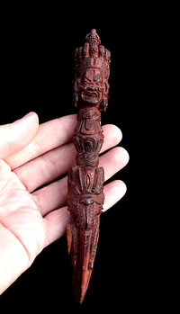 Rare Bhutanese Hand Carved Sandalwood Phurba - 7.5 inches
