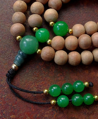 Sandalwood Mala with Green Chalcedony Dividers - 8mm