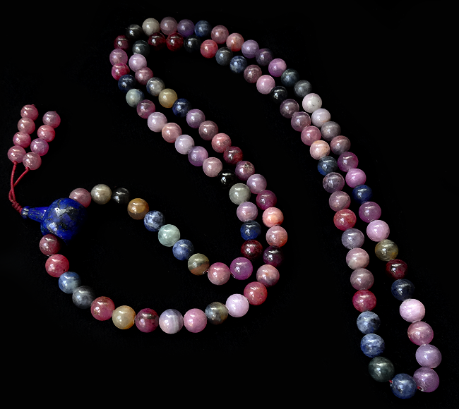 Rare Sapphire and Ruby Bead Mala - 8 mm