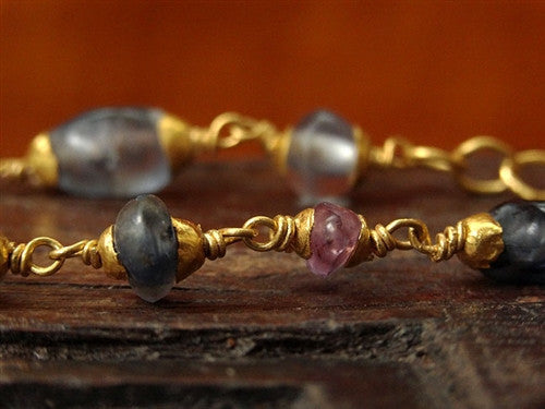 Very Rare Ancient Ceylon Sapphire Bead Necklace with 22K Gold