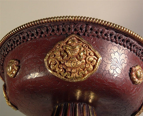 Extra Large Hand Hammered Copper & Gilt Serkyem - 9 inches