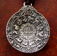 Silver Plated Astrological Melong Mirror Amulet