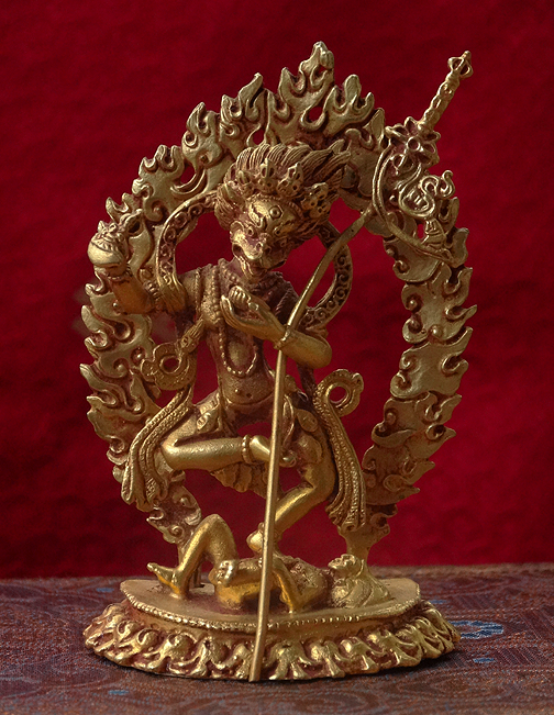 Simhamukha Statue - Lion Headed Dakini - Fully Gilded