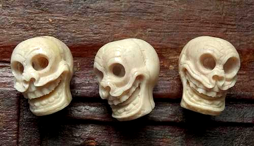 Three Matched Laughing Skull Beads - Hand Carved