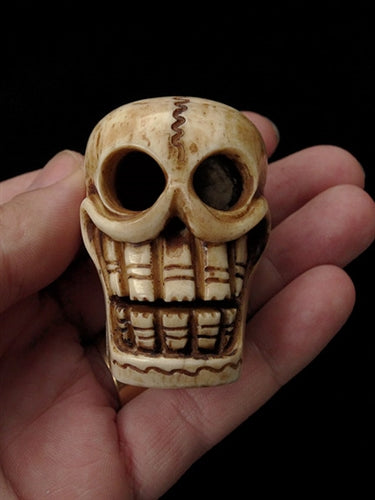 Extra Large Hand Carved Skull Bead