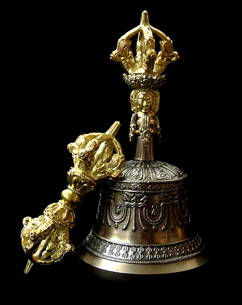 Fine Quality Bell & Dorje - Small Size - 6 inches - Kirtimukha - Five Prong