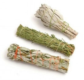Three Small Healing Smudge Sticks - Sage, Mugwort and Cedar