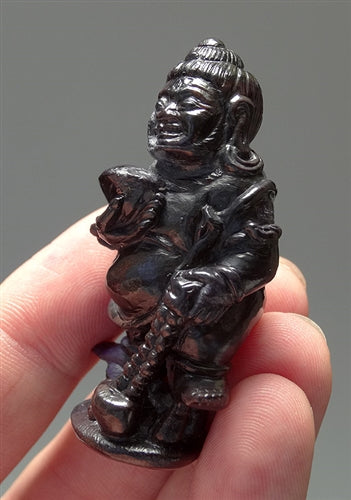 Rare Black Dzambhala (Standing Kubera) Sugilite Gemstone Carving - 2.4 inches