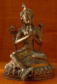 Antique Sino-Tibetan Green Tara Statue - 19th C