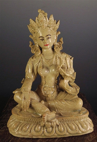 Rare Antique Sino-Tibetan Green Tara - 19th C Ceramic