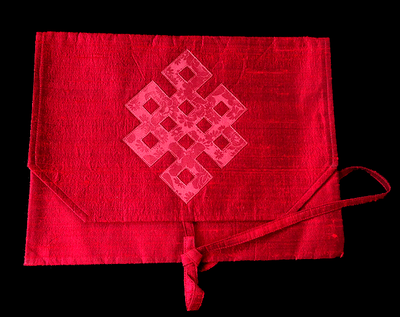 Silk Brocade Dharma Book Cover w/ Eternal Knot Design - Red