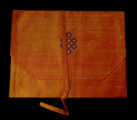 Silk Brocade Dharma Book Cover w/ Eternal Knot Design - Orange