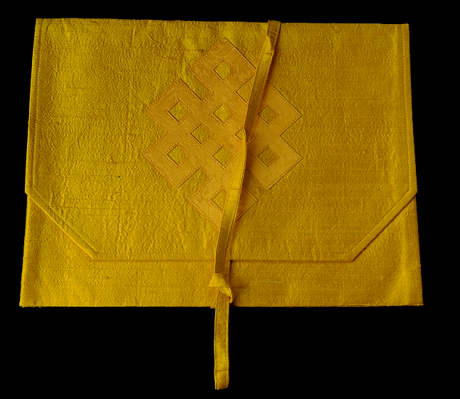 Silk Brocade Dharma Book Cover w/ Eternal Knot Design - Yellow